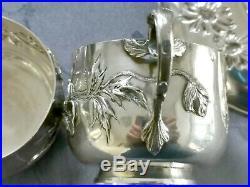 Art Nouveau Argent Massif Paire De Tasses Et Soucoupes Decor Coquelicots