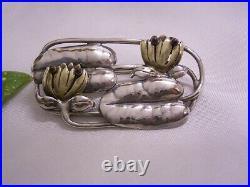 Art Nouveau Argent Sterling Broche Nénuphars Fabrication 925 Argent