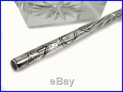Art Nouveau Argent Verre Instrument D'Ecriture Encrier Porte-Plume Coffret