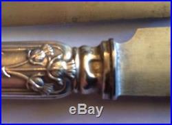 Art Nouveau Boulenger Argent Minerve 12 Couteaux Gourmet Décor Chardon