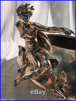 Art Nouveau Bronze Argente F. Barbedienne L. Ernest Barrias La Fee Aux Lezards