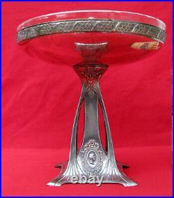 Art Nouveau Coupe A Condiments Metal Argente 1900