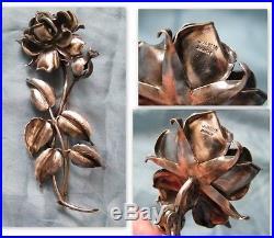 Art Nouveau-Grande broche fleur argent sterling poincons par J. Heim Nancy, n°722