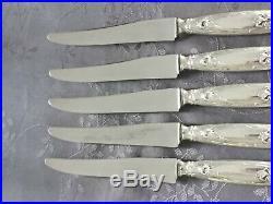 Art Nouveau Iris Argent Massif 5 Grands Couteaux De Table Ravinet D Enfert