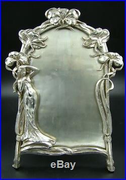 Art Nouveau Jugendstil Plaqué Argent Femme Maiden Jb Jennings Bros Image Cadre