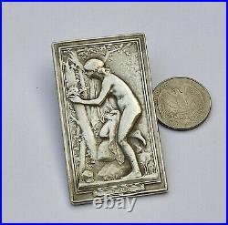 Art Nouveau Lady Medaille en Argent Antique French Silver Medal Nue Naked