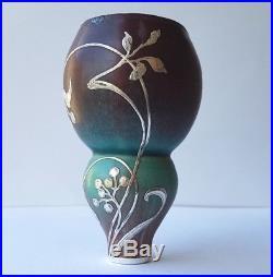 Art Nouveau Vase en Céramique avec Argent Superposition Signé Um 1900 K834