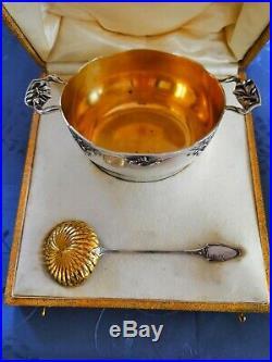 Art Nouveau Vermeil Argent Massif Rare Sucrier Poincon Minerve 1896 1910