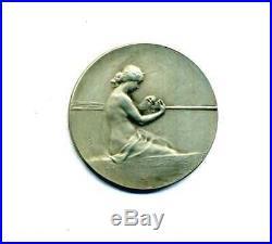Art Nouveau médaille Argent 1920 Femme enceinte fileuse pregnant woman spinner
