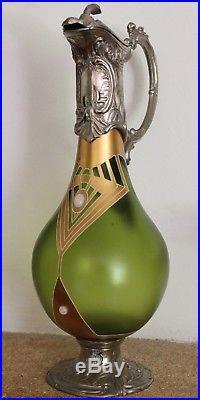 Art nouveau aiguière métal argenté émaillé Friedrich Adler