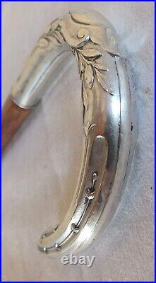 Art nouveau canne pommeau argent