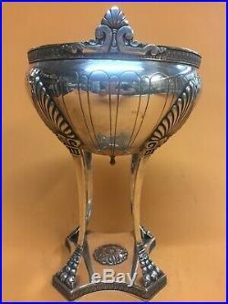 Art nouveau remarquable coupe à fruits centre de table, métal argenté 1900 rare