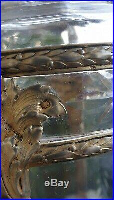Art nouveau vase argent massif Eugène Lefebvre et Cristal taillé Baccarat