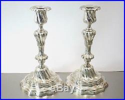 Auguste Mourier Superbe Paire De Bougeoirs Flambeaux Bronze Argente Vers 1920
