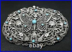 Aumoniere ancienne Argent Massif Filigrané Art Nouveau Papillon Turquoise