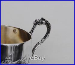 BOULENGER CHARDONS TASSE EN ARGENT MASSIF VERMEIL ART NOUVEAU Sterling Silver