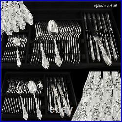 BOULENGER Ménagère avec Couteaux en Argent massif ART NOUVEAU Chardons 84pcs