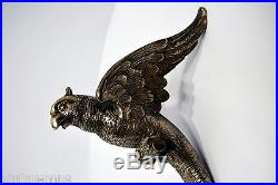 BRONZE APPLIQUE MURALE perroquet LUMINAIRE ART NOUVEAU mi-XXè bronze argent