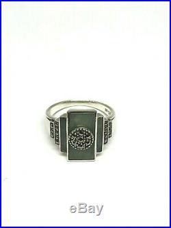 Bague art déco en argent, jade et marcassites, taille 55 ajustable