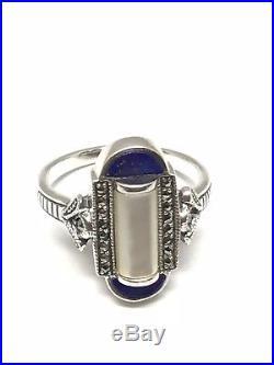 Bague en argent 925/1000, art déco, nacre et lapis lazuli, taille 54 ajustable