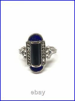 Bague en argent 925/1000 look art déco onyx lapis lazuli et marcassites