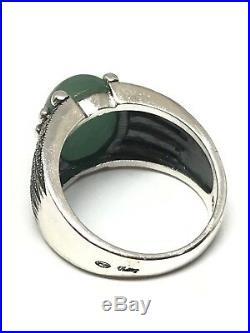 Bague en argent 925/1000 style art déco, jade et marcassite taille 56 ajustable