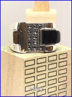 Bague en argent 925/1000 style art déco, onyx et marcassites, look vintage