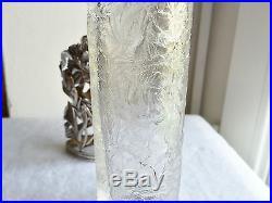 Beau Vase Art Nouveau Cristal Gravé Acide Monture Argent Massif Poinçon Minerve