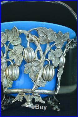 Beau petit panier Art Nouveau Opaline turquoise métal argenté ajouré