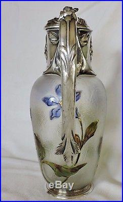 Belle Aiguiere En Metal Argente Gallia Decor Aux Violettes Art Nouveau