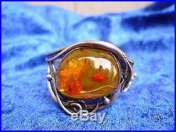 Belle, Ancien Bracelet 800 Argent avec Ambre Art Nouveau