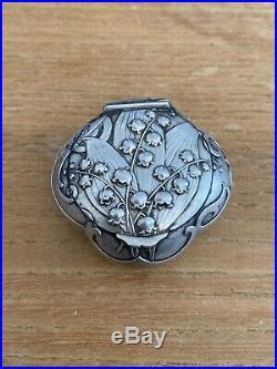 Belle Boite Ancienne Pilule Poudrier Argent Massif Art Nouveau Muguets
