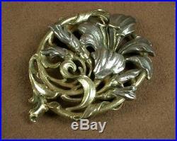 Belle Importante Broche En Argent & Vermeil Art Nouveau Decor D'iris