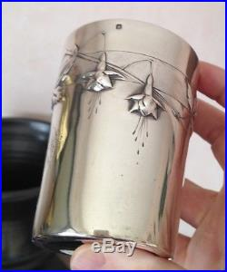 Belle Timbale argent massif Minerve 1er titre Art nouveau monogrammée 109g