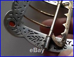 Belle boucle ceinture monture argent massif sanglier Art nouveau cabochons