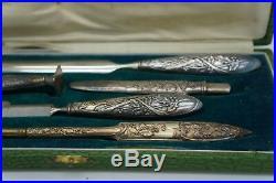 Boite 5 Pièces Metal Argente 1900 Ecriture Bureau Plume Coupe Papier Cachet