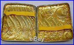 Boite Etui A Cigarettes Argent Et Vermeil An 1900 Art Nouveau 85gr