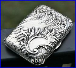 Boite Etui à Cigarettes Argent Massif Charles Murat Art Nouveau