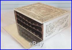 Boite cigare bijoux métal argenté gravé F. Vinea
