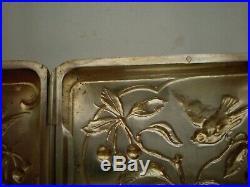 Boite étui à cigarettes en argent COUPLE D'OISEAUX, art nouveau, poids 48,70 grs