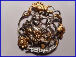 Boucle ceinture ancienne art nouveau 1900 sculpture femme fleur métal argenté 2