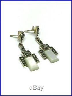 Boucles d'oreilles style ancien art dèco en argent 925/1000 nacre et marcassites