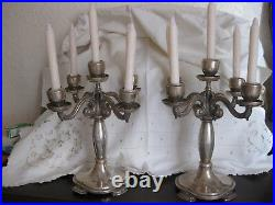 Bougeoirs/chandeliers/candelabres Argent Massif Art Nouveau 1886/1938 Portugal