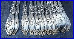 Boulenger 12 Fourchettes A Huitres Argent Minerve Chardons Art Nouveau 1900
