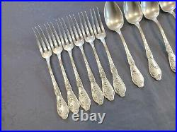 Boulenger Chardons 6 Couverts De Table 12 Pieces Art Nouveau Metal Argente