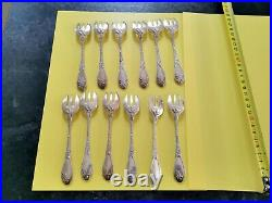 Boulenger Chardons Art Nouveau 12 Fourchettes A Huitres Metal Argente