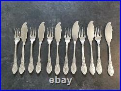Boulenger Chardons Art Nouveau 6 Couverts A Poisson Metal Argente L2