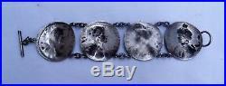 Bracelet 1900 en argent les 4 saisons Art nouveau