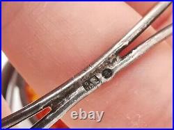 Bracelet Ancien Ambre Articulé En Argent Massif, Signé MW, Art Nouveau