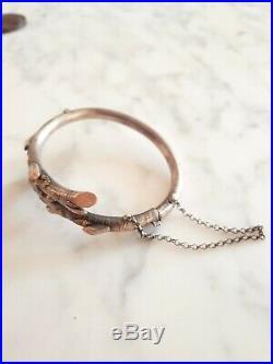 Bracelet Art Nouveau Argent Massif Et Or